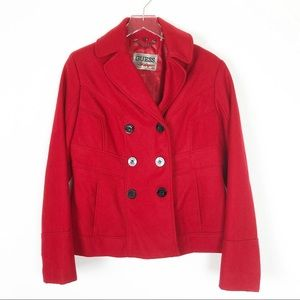 Guess Red Wool Hip Length Pea Coat Size L